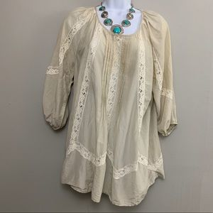 Fifteen-Twenty Cream White Lace Boho Top M C3